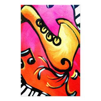 ピンクのジャズ音楽 便箋