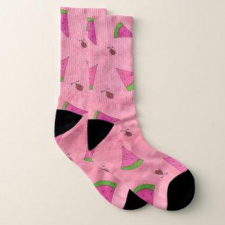 ピンクのスイカおよびてんとう虫パターンソックス ソックス