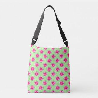 ピンクのスイレンの緑の水玉模様 クロスボディバッグ