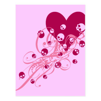 ピンクのスカルおよび渦巻のハート ポストカード
