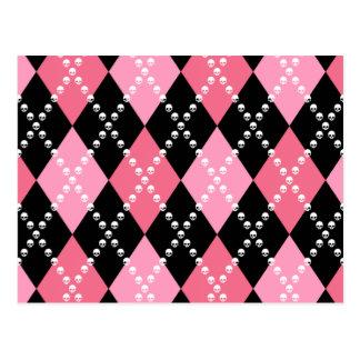 ピンクのスカルのアーガイル ポストカード