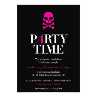 ピンクのスカルのハローウィンパーティの招待状 カード