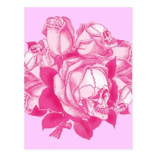ピンクのスカルのバラの花束 ポストカード