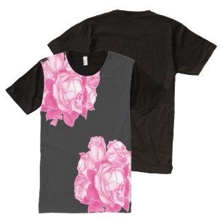 ピンクのスカルのバラ オールオーバープリントT シャツ