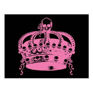 ピンクのスカルの王冠 ポストカード