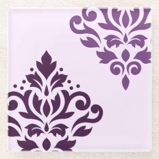 ピンクのスクロールダマスク織の芸術Iの紫色 ガラスコースター