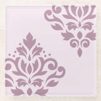 ピンクのスクロールダマスク織の芸術Iの藤色 ガラスコースター