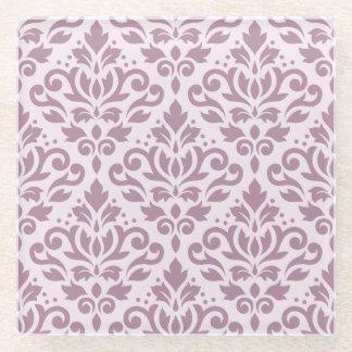 ピンクのスクロールダマスク織パターン藤色 ガラスコースター