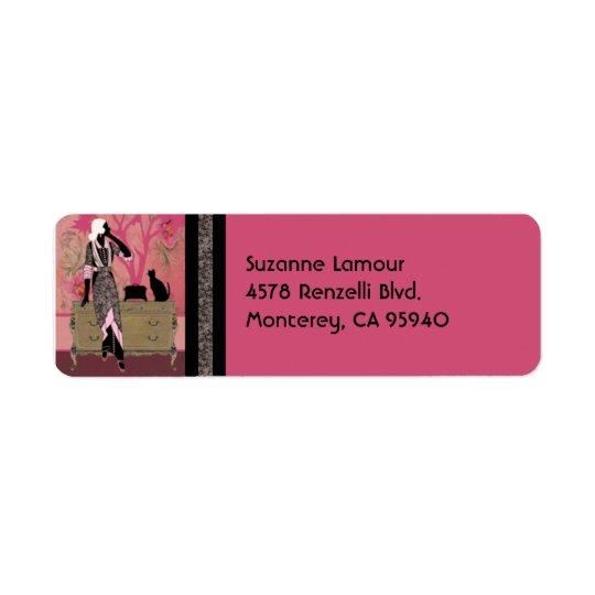 ピンクのスザンヌおよびタン-宛名ラベル 返信用宛名ラベル