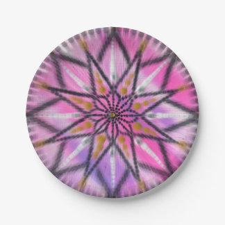 ピンクのスターバストの花の曼荼羅の紙皿 ペーパープレート