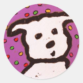 ピンクのステッカーの犬 ラウンドシール