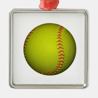 ピンクのステッチとの黄色いソフトボール メタルオーナメント