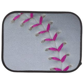 ピンクのステッチのソフトボール カーマット