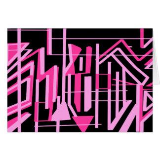 ピンクのストライブ柄およびラインデザイン カード