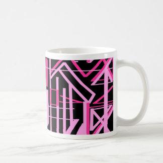 ピンクのストライブ柄およびラインデザイン コーヒーマグカップ