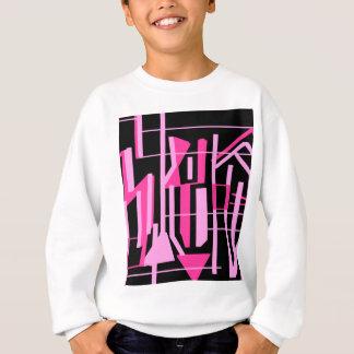 ピンクのストライブ柄およびラインデザイン スウェットシャツ
