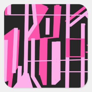 ピンクのストライブ柄およびラインデザイン スクエアシール
