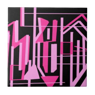 ピンクのストライブ柄およびラインデザイン タイル
