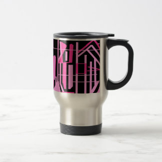 ピンクのストライブ柄およびラインデザイン トラベルマグ