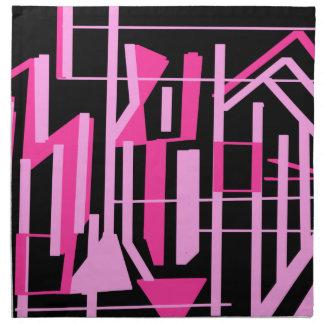 ピンクのストライブ柄およびラインデザイン ナプキンクロス