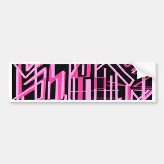 ピンクのストライブ柄およびラインデザイン バンパーステッカー