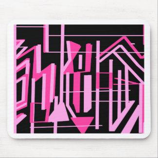 ピンクのストライブ柄およびラインデザイン マウスパッド