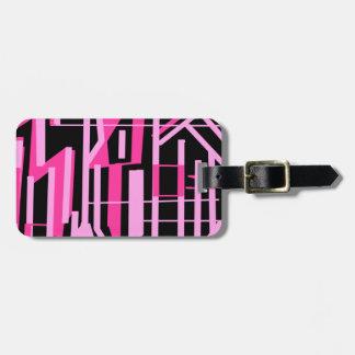 ピンクのストライブ柄およびラインデザイン ラゲッジタグ