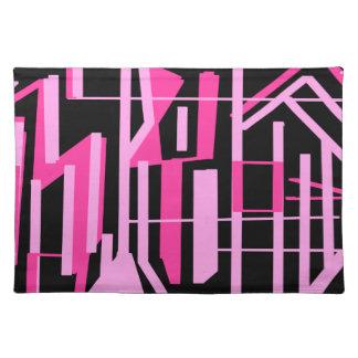 ピンクのストライブ柄およびラインデザイン ランチョンマット