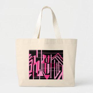ピンクのストライブ柄およびラインデザイン ラージトートバッグ