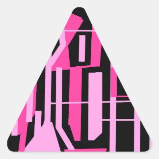 ピンクのストライブ柄およびラインデザイン 三角形シール