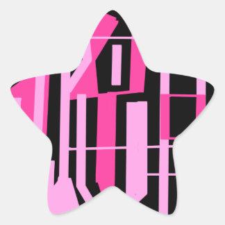 ピンクのストライブ柄およびラインデザイン 星シール