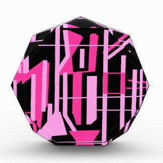 ピンクのストライブ柄およびラインデザイン 表彰盾