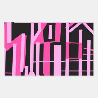ピンクのストライブ柄およびラインデザイン 長方形シール