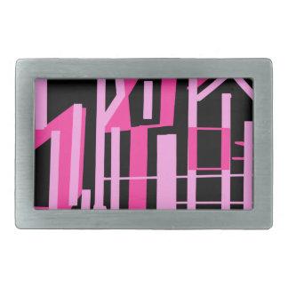 ピンクのストライブ柄およびラインデザイン 長方形ベルトバックル