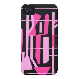 ピンクのストライブ柄およびラインデザイン Case-Mate iPhone 4 ケース