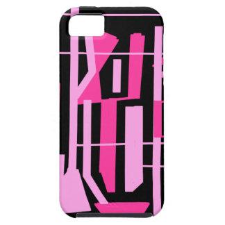 ピンクのストライブ柄およびラインデザイン iPhone SE/5/5s ケース