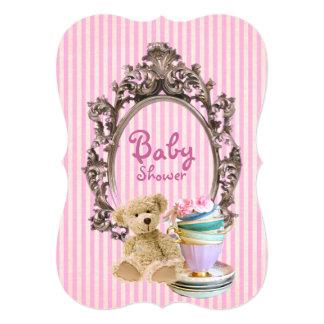 ピンクのストライブ柄のテディー・ベアのベビーシャワー招待状 カード