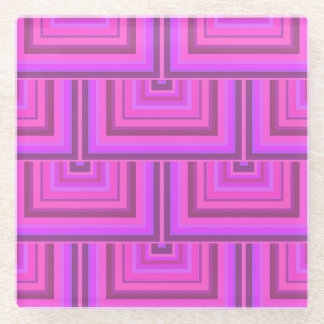 ピンクのストライブ柄の正方形のスケールパターン ガラスコースター