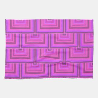 ピンクのストライブ柄の正方形のスケールパターン キッチンタオル