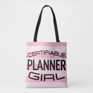 ピンクのストライプが付いている保証できるプランナーの女の子のトート トートバッグ