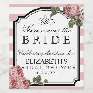 ピンクのストライプな花のブライダルシャワーのワイン・ボトルのラベル ワインラベル