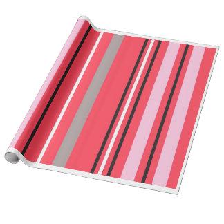 ピンクのストライプな覆い ラッピングペーパー