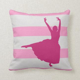 ピンクのストライプのなバレリーナの枕 クッション
