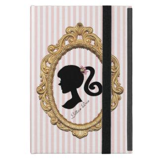ピンクのストライプのなパリの女の子のシルエット iPad MINI ケース