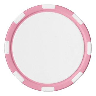 ピンクのストライプのな端が付いているポーカー用のチップ ポーカーチップ