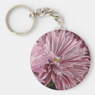ピンクのストライプのな花 キーホルダー
