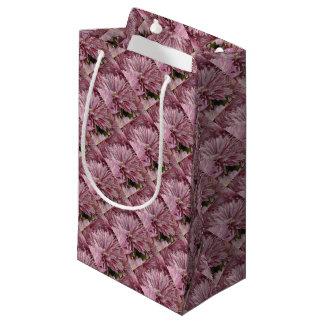 ピンクのストライプのな花 スモールペーパーバッグ