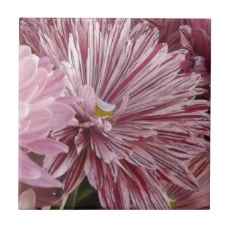 ピンクのストライプのな花 タイル