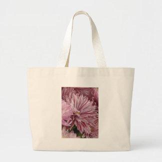ピンクのストライプのな花 ラージトートバッグ