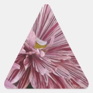 ピンクのストライプのな花 三角形シール